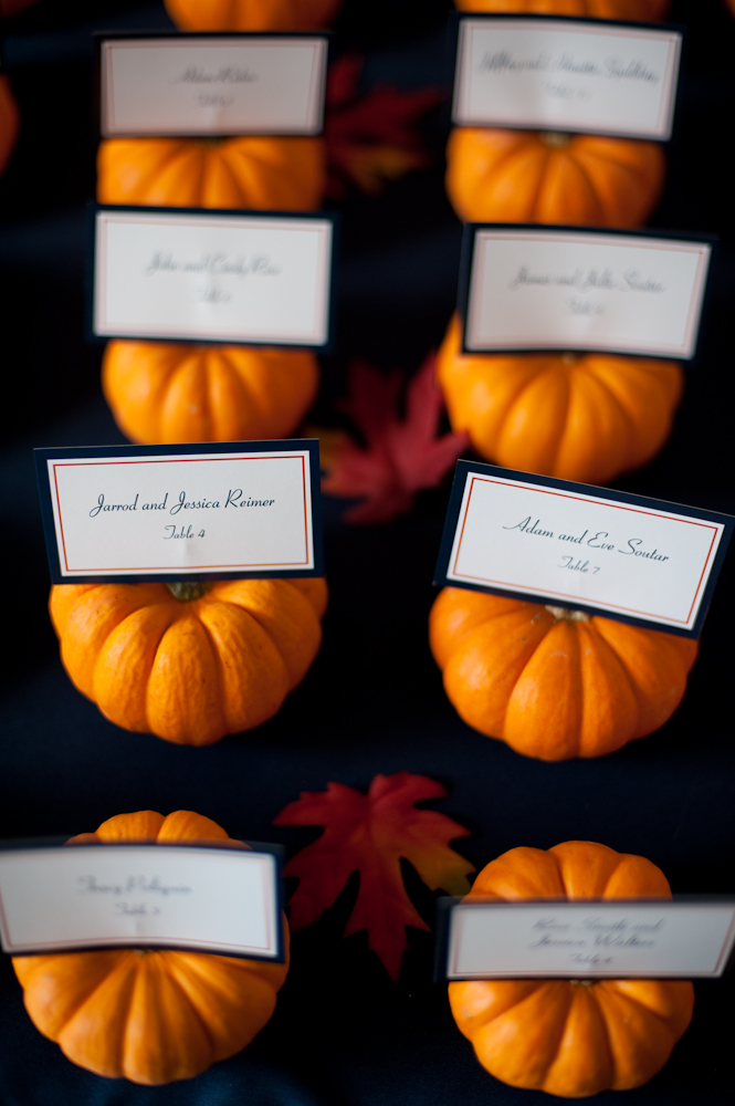 Fall Pumpkin Placecards Fall Wedding Decor
